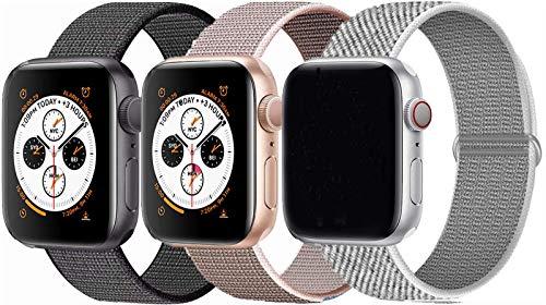 Tervoka Kompatibel mit Apple Watch Armband 44mm 42mm 40mm 38mm, Nylon Sport Armband Ersatzband für iWatch Armband Series 6/5/4/3/2/1 (38mm/40mm, 3Pack B)