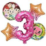 ENXI Globos 5pcs COCOMELON Tema Blanco Fiesta de cumpleaños Set Baby Shower Decoraciones de Aluminio película Número Globos ( Color : Number 3 )