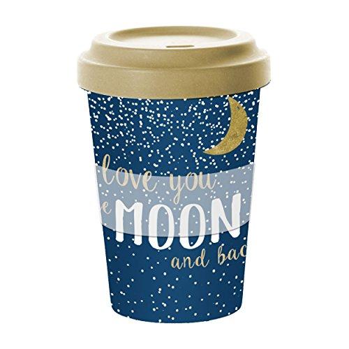 PPD Moon Love Bamboo Coffee-To-Go Becher, Kaffeebecher, Pappbecher, Trinkbecher, Bambus-Silikon, Blau, Ø 9 cm, 603235