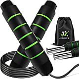 Weighted Jump Rope ,Jump Ropes for Fitness for Women,Weighted Jump Rope for Men Workout for Exercise,Tangle-Free Rapid Speed Skipping Rope with Ball Bearings,Adjustable Jump Rope for Women/Men (Green)…