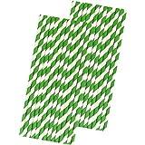 Striped Paper Straws - Green White Straws - 7.75 Inches - 50 Pack