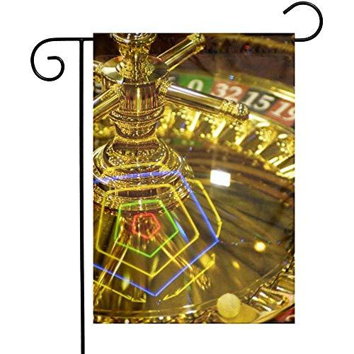 qinzuisp Vlag Golden Casino Roulette Gokken En Casino Tuin Vlaggen Huis Indoor Outdoor Welkom Dubbelzijdige Banner Decoraties Yard Decoratieve Partij Spel Familie