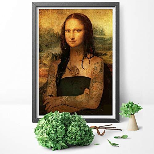 Cuadros Abstractos Arte divertida pared de la lona pared de la pintura Imágenes famoso cuadro Imprimir tatuado Mona Lisa pared de la lona Pintura carteles y las impresiones