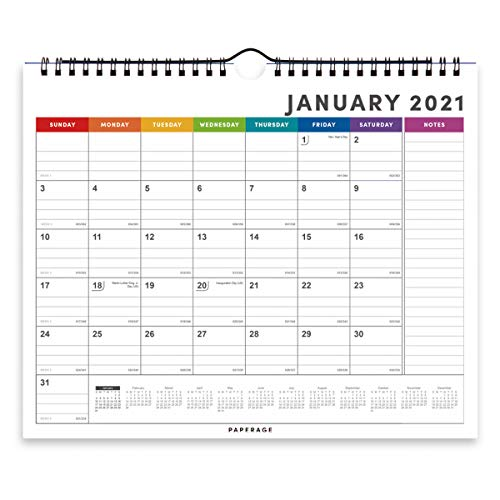 Calendar 2021 - 12 Months, Wall and Desk Calendar, Premium Thick Paper, Ruled Blocks and Notes, Tear Off Pages, Yearly Plan- Rainbow Colors Minimal Design- For Family, Office, School - 9 in by 11 in