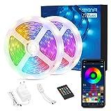 Tiras LED 15M Bluetooth 5050 SMD RGB, AWANFI Tiras de Luces LED Iluminación 450LED, Función Música, Control APP/Remoto, Flexible/Acortable/Conectable/Divisible, para TV Habitación Balcón Bar Fiestas