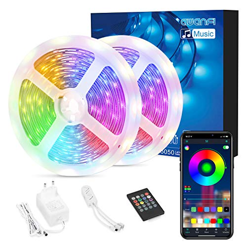 Striscia LED 15M Bluetooth 5050 SMD RGB,AWANFI Nastri LED Retroilluminazione 450LED,Funzione Musicale,Controllo APP/Telecomando,Flessibile/Accorciabile/Collegabile/Divisibile,per TV Stanze Bar Feste