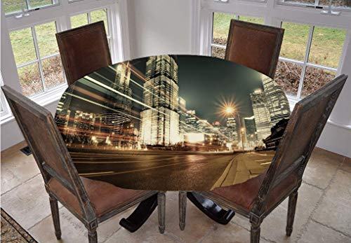 City Round Tablecloth,Shanghai Lujiazui Finance and Trade Zone of the Modern City Nighttime View Polyester Indoor Outdoor Tablecloth,60 Inch,for Spring/Summer/Party/Picnic Bronze Black White