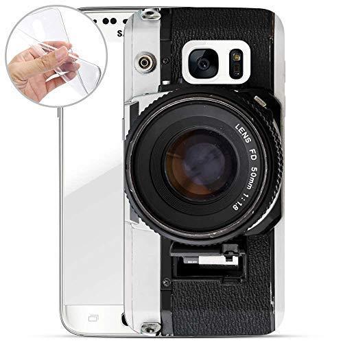 Hülle kompatibel mit Samsung Galaxy S7 - Handyhülle mit Motiv und Optimalen Schutz TPU Silikon Tasche Case Cover Schutzhülle - Kamera FD Lens