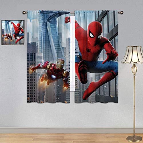 ARYAGO Vorhänge für Kinder/Mädchenzimmer, Spiderman-Vorhänge, Iron Man & Spider Man, energieeffiziente Vorhänge für Schlafzimmer/Wohnzimmer, 107 x 183 cm
