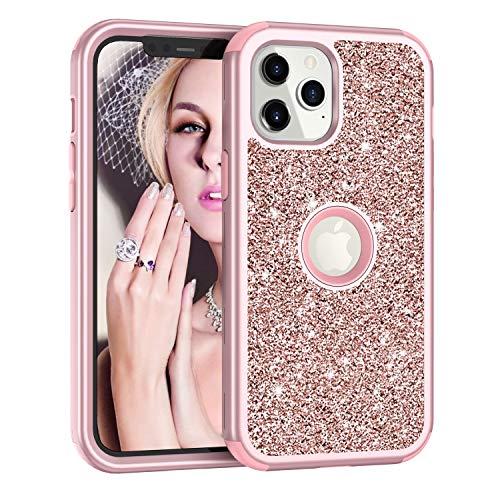 Capa para iPhone 12, Capa para iPhone 12 Pro, DOOGE luxuosa brilhante brilhante capa de três camadas de corpo inteiro híbrida resistente à prova de choque capa protetora para iPhone 12/12 Pro 6,1 polegadas
