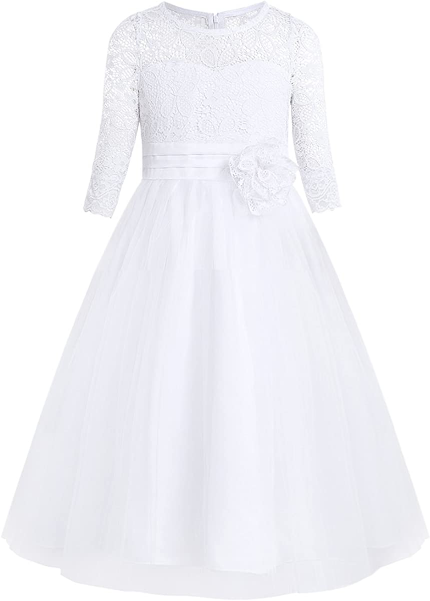 FEESHOW Floral Lace Flower Girl Dress Half Sleeved First Communion Wedding Bridesmaid Party Prom Gown