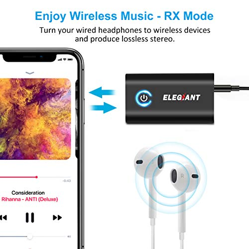 ELEGIANT Bluetooth 5.0 Transmitter Receiver, 2 in 1 Bluetooth Adapter Mini Portable 3.5mm Jack, Low Latency Compatible with Bluetooth Audio Devices for PC/TV/Car Sound System/Wired Speakers