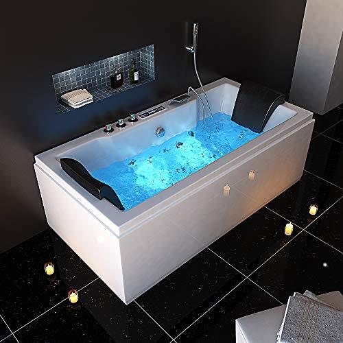 Home Deluxe - Whirlpool Badewanne - Laguna M Pure weiß - Maße: 180 x 90 x 55 cm - inkl. komplettem Zubehör I Indoor Jacuzzi, Spa, 2 Personen