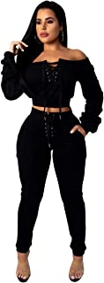 Women's 2 PCS Lace Up Off Shoulder Crop Tops Bodycon Pants Sexy Nightclub Party Tracksuit Outfits Set