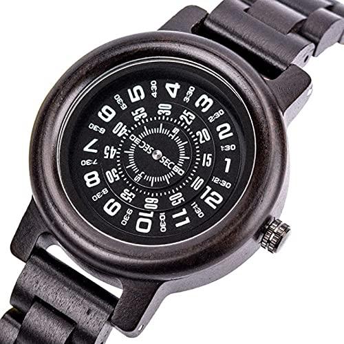 yuyan Sandalwood Watch Pareja Modelo Digital dial rotativo Reloj Retro Madera Deportes Hombre Deportes de Negocios japonés Cuarzo Movimiento combinación de tecnología y Naturaleza