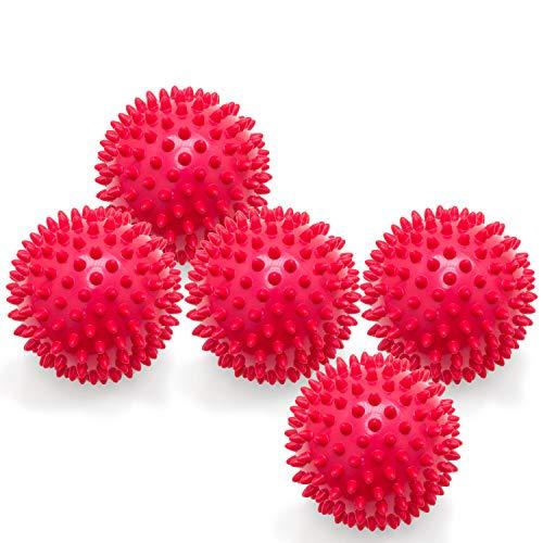 5er PACK | Massagebälle mit Noppen | Noppenbälle | Igelbälle | Arthro Sensorik Ball | Nicht aufgepumpt! | Härte kann selbst variiert werden | Durchmesser 10 cm | rot
