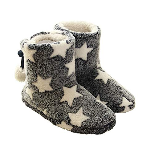 Munya Munya(ムニャムニャ)北欧 ルーム シューズ かわいい 暖か もこもこ スリッパ 冬用 防寒 足首 ボア ブーツ(ブラック/L:25cm程度)