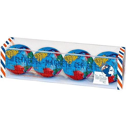 moses. 82429 Fernweh Weltkugel-Magnet im 4er Set, Doppelt magnetisch, Büroklammernhalter in Weltkugel-Optik