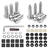VIGRUE Anti Theft License Plate Screws- 10PCS Stainless Steel Button Head Torx Bolts Fasteners Kits Rust Plate Screw Resistant M6 3/4 Security Tamper Resistant Machine License Plate Screws