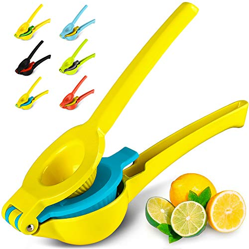 Zulay Premium Quality Metal Lemon Lime Squeezer - Manual Citrus Press Juicer (Vibrant Yellow and Blue Atoll)