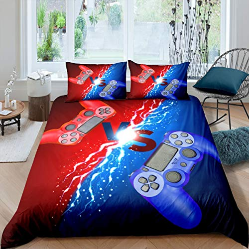 Tbrand Gamepad Bettbezug Set Jungen Gamer Bettwäsche Set 200x200cm Jugendliche Blau Rot Videospiel Competitive Betten Set für Kinder Kleinkind Neuheit Modern Game Controller