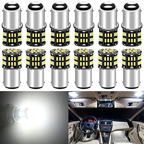 ALOPEE 12-Pack BA15D 1142 Blanc 6500k LED Lumière 12V-DC, 3014 54 SMD Remplacement De Voiture pour L'intérieur RV éclairage Camper Clignotants Lampes Tail Backup Ampoules