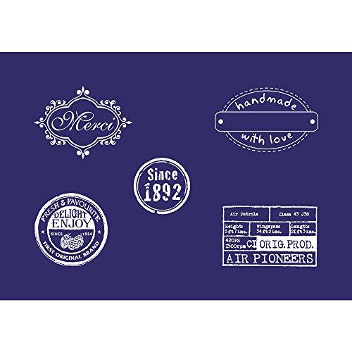 Rayher 45066000 Schablone Motiv: Labels, DIN A5, 14,8 x 21 cm, mit Rakel, Siebdruck-Schablone, Malschablone, selbstklebend