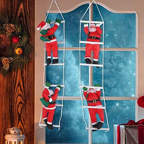 Delaman Père Noël Décoration Escalade Père Noël Jouet d'arbre de Noël Ornement Hanging Intérieur/Extérieur Accueil Bureau Vacances Décoration