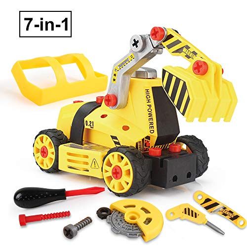 BeebeeRun Take Apart Toy ,Car Toys,Construction Toys for 3 Year Olds Boys Toys for 4 Year Olds,Toys for 5 Year Olds,Assemble Toy, 65 Pieces ,7 in 1 DIY Truck Toys for Kid