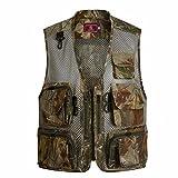 Tenflow フィッシングベスト メンズ 迷彩 作業服 お釣りベスト ノースリーブ ジレ 袖なし チョッキ 釣りジャケット 多機能 bjjyx-b-12(XL オークル(ファスナータイプ))