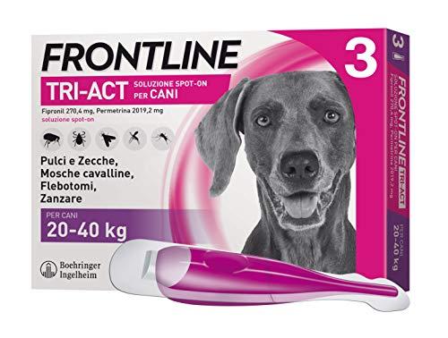 Frontline Triact, 3 Pipette, Cane L (20 - 40 Kg), Antiparassitario per Cani e Cuccioli di Lunga Durata, Protegge il Cane da Pulci, Zecche, Zanzare, Pappataci e Leishmaniosi, Antipulci 3 Pipette