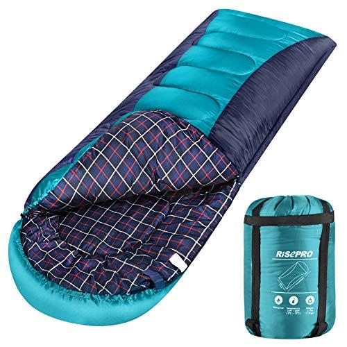 RISEPRO Sleeping Bag Lightweight, Portable, Waterproof 3-4 Seasons Warm Cold Weather Sleeping Bag for Adults & Kids - Indoor & Outdoor: Camping, Backpacking, Hiking (Green)