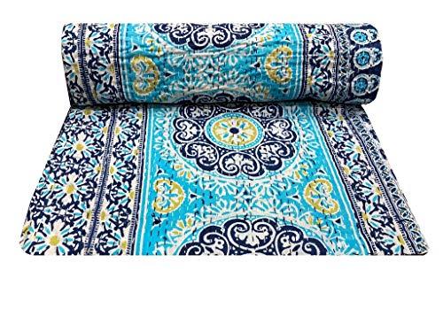Hippie - Manta india con estampado floral de color turquesa