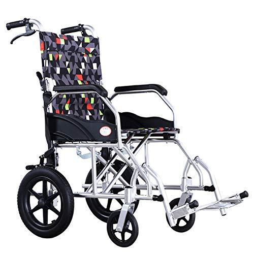 Wheelchair Silla de Ruedas Manual Desmontable del Equipo médico portátil Plegable de Peso Ligero cuadripléjico del Hospital de Aluminio de la aleación,12inches