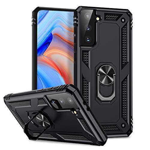 Upeak Funda Compatible con Samsung Galaxy S21 Plus (No para S21/S21 Ultra), Funda Protectora de Carcasa Rígida con Soporte Magnético para Coche, Protección de Grado Militar para Hombres, Negro