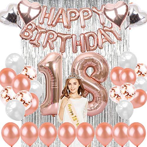 sancuanyi 18 Geburtstag Dekoration Rosegold– 48 Stück 18 Geburtstag Deko, Happy Birthday Ballons Banner, Riesen Zahl Folienballons, 18. Geburtstagsdeko für Mädchen und Jungen