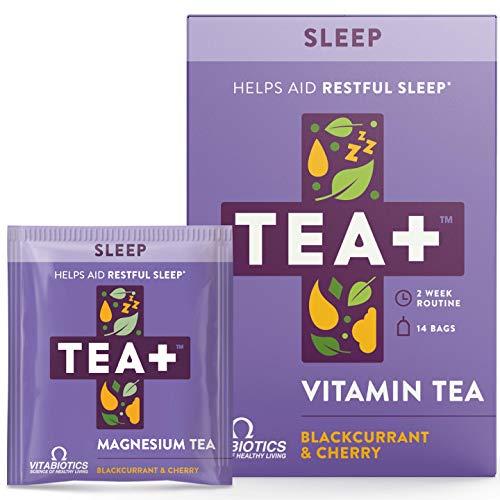 Vitabiotics TEA+ ( Tea Plus ) Sleep Tea - Helps Aid Restful Sleep | Caffeine Free Herbal Tea with Magnesium Chamomile and Lavender | Blackcurrant and Cherry Natural Flavour | 14 Tea Bags