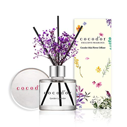 Cocod'or Mini Flower Reed Diffuser/Garden Lavender / 1.6oz(50ml) / 1 Pack/Fragrance Decor for Cars Cubicles, Small Rooms and Home, Diffuser Oil Sticks Gift Set