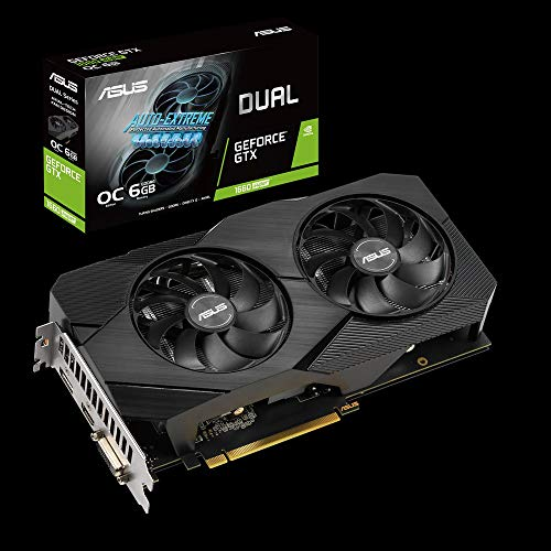 ASUS Dual Nvidia GeForce GTX 1660 Super 6GB EVO OC Edition Gaming Grafikkarte (GDDR6 Speicher, PCIe 3.0, 1x HDMI 2.0b, 1x DVI, 1x DisplayPort 1.4, DUAL-GTX1660S-O6G-EVO)