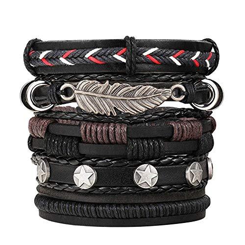 Finmind - 10 pulseras de cuero ajustables para hombres y mujeres con cuentas de madera (G 10 piezas, negro)
