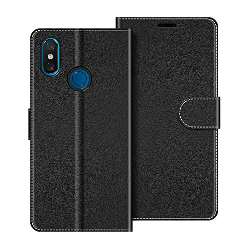 COODIO Handyhülle für Xiaomi Mi 8 Handy Hülle, Xiaomi Mi 8 Hülle Leder Handytasche für Xiaomi Mi 8 Klapphülle Tasche, Schwarz