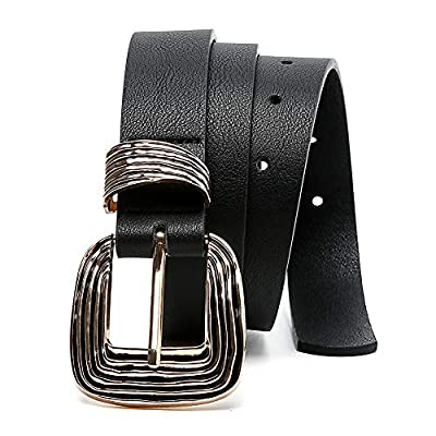 MORELESS Women's Leather Belt for Jeans with Western Design Buckle, Black Belts for Women