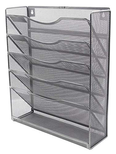 Klickpick Office Wall Mount Metal Mesh File Organizer Magazine Holder Organizer 5 Section Racks Multipurpose Use to Display Files, Magazine, Newspapers (Gray, 6- Section Racks)