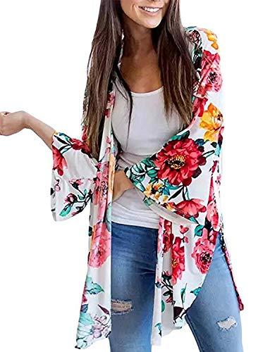 Beach Bathing Suit Cover Up for Women Fall Kimono Cardigan Top Shirt Blouse Kimono (Multicolored, L)