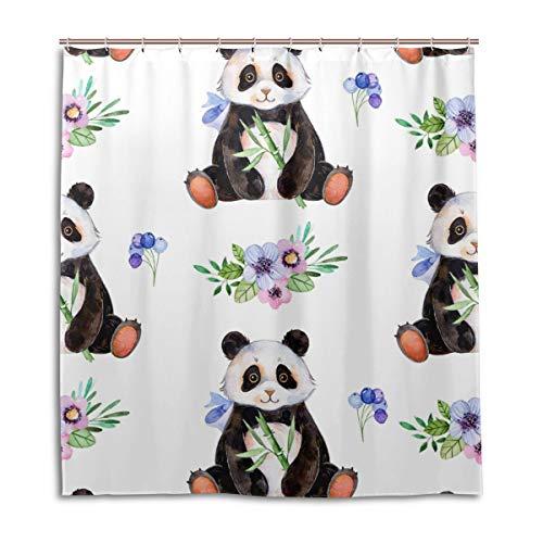 CPYang Duschvorhang, Wasserfarben, Blumen, Blätter, Panda, wasserdicht, schimmelresistent, 168 x 182 cm, mit 12 Haken