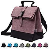 WISHBAX Insulated Lunch Bags for Women - Adult Lunch Box W/ Shoulder Strap, Womens Lunch Bags for Work Insulated - Portable Small Lunch Bag And Lunch Cooler Bag - Mens Lunch Box (Pink Brown)