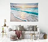 HIYOO Home Beach Waves Sunrise Tapestry Wall Hanging Tropical Ocean Sea Coast Seashore Wall Tapestry, Nature Art Tapestries Decor For Dorm Bedroom Living Room Wall Background 60'W x 40'L