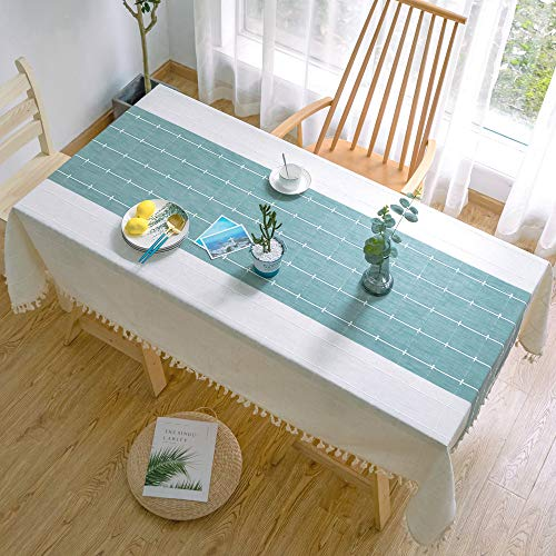 XIAOE White Table Cloths Rectangular Cotton Linen Table Cloth Stripe Tassel Square Tablecloth Washable Dust Proof Table Cover Wedding Banquet Cover Towel Living Room Outdoor 140 * 200cm