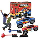 New Stomp Rocket Dueling Stomp Racers, 2 Toy Car Launchers and 2 Air Powered Cars with Ramp and Finish Line. Great for Outdoor and Indoor Play, STEM Gifts for Boys and Girls -Ages 5, 6, 7, 8
