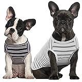 Kuoser Pack de 2 camisetas a rayas para perros y gatos, camiseta de verano para perros pequeños, medianos y grandes, ropa elástica para perro, suave y transpirable
